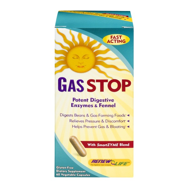 Renew Life Gas Stop Dietary Supplement Vegetable Capsules - 60 CT