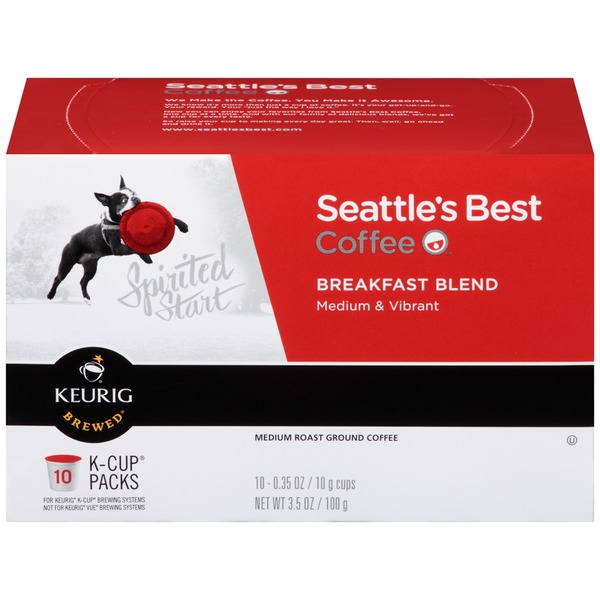 Seattle's Best Coffee Breakfast Blend Medium Roast Keurig Brewed K-Cups Ground Coffee