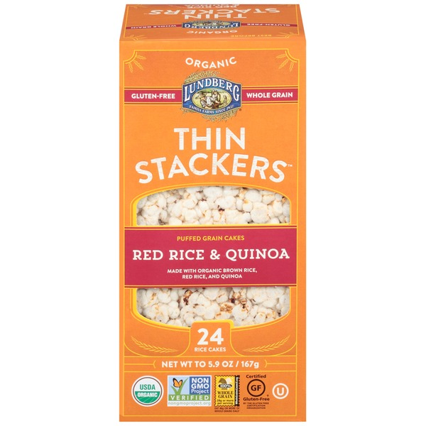 Lundberg Family Farms Thin Stackers Organic Red Rice & Quinoa Grain Cakes