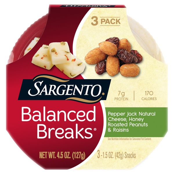 Sargento Balanced Breaks Pepper Jack Natural Cheese, Honey Roasted Peanuts & Raisins