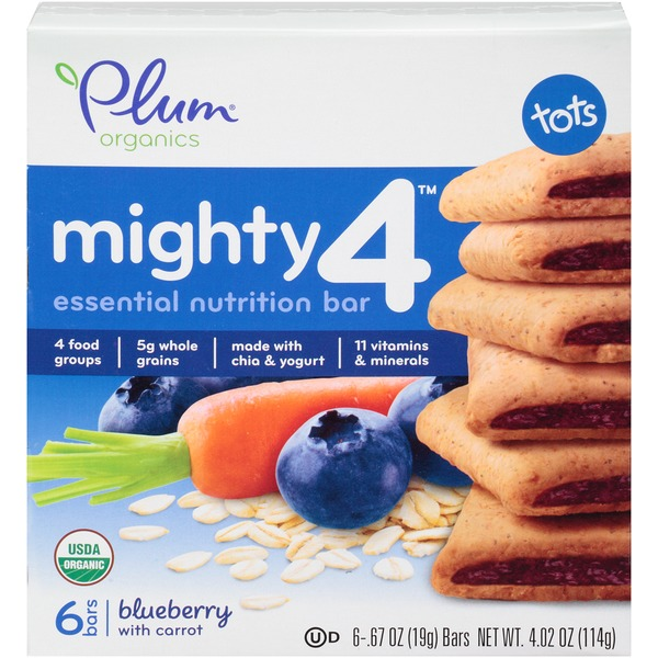 Plum Tots Mighty 4 Blueberry with Carrot Essential Nutrition Bar