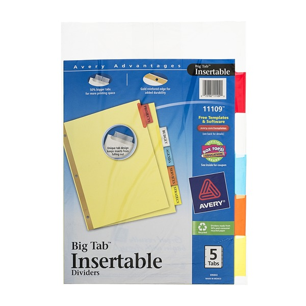 Avery Big Tab Insertable Dividers - 5 Tab