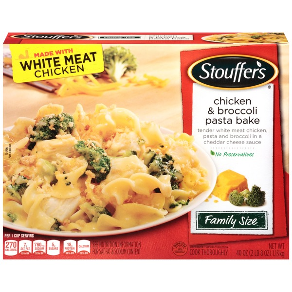 Stouffer's Family Size Tender white meat chicken, pasta & broccoli in a Cheddar cheese sauce Chicken & Broccoli Pasta Bake