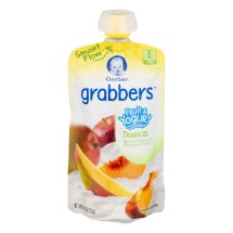 Gerber Grabbers Fruit and Yogurt Squeezable Puree, Tropical, 4.23 oz Pouch