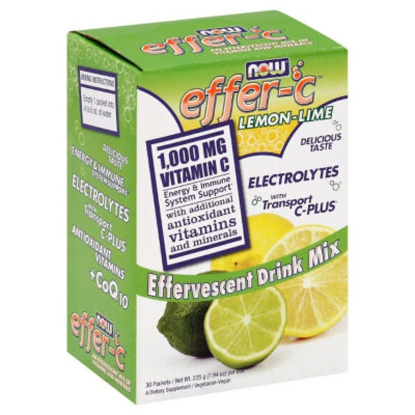 Now Effervescent Lemon-Lime Drink Mix Packets