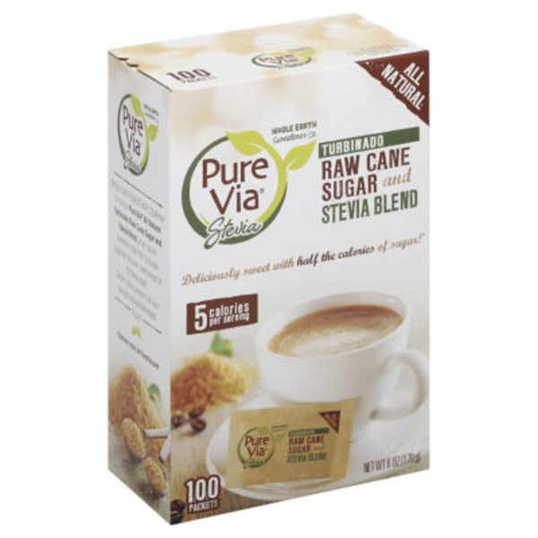 Pure Via Turbinado Raw Cane Sugar and Stevia Blend Packets