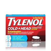 Tylenol Cold + Head Congestion Severe, Caplets, 24 Count