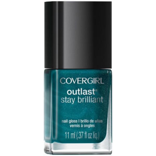CoverGirl Outlast Stay Brilliant COVERGIRL Outlast Stay Brilliant Nail Gloss, Teal on Fire .37 fl oz (11 ml) Female Cosmetics
