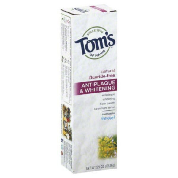 Tom's of Maine Fluoride-Free Toothpaste Natural Antiplaque & Whitening Fennel