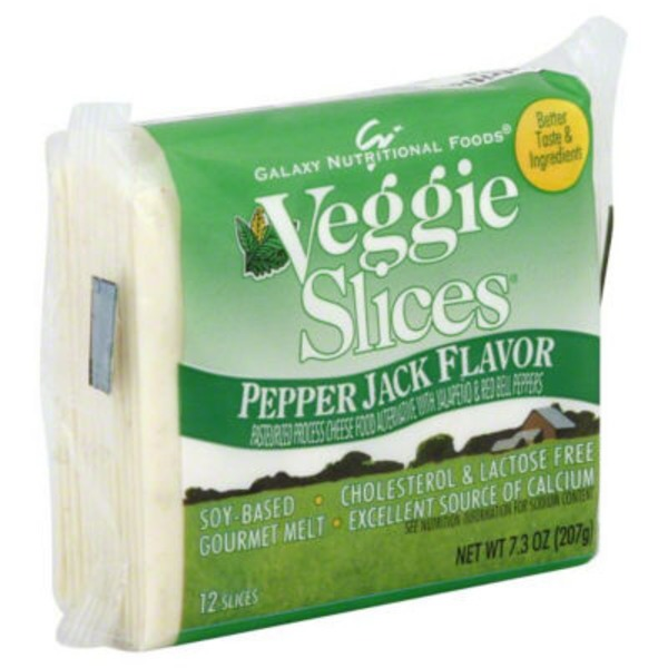 GO Veggie! Pepper Jack Flavor Slices with Jalapeno & Red Bell Peppers Pasteurized Process Cheese Food Alternative