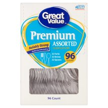 Great Value Premium Assorted Clear Cutlery, 96 Count