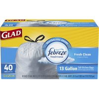 Glad OdorShield Tall Kitchen Drawstring Trash Bags, Febreze Fresh Clean, 13 Gallon