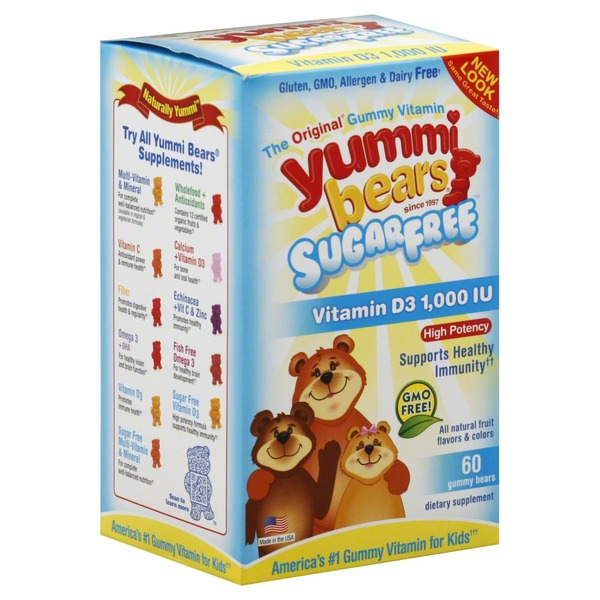Yummi Bears Vitamin D3, High Potency, 1000 IU, Gummy Bears