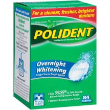Polident Overnight Whitening Antibacterial Denture Cleanser, 84 count