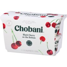 Chobani Greek Yogurt Non-Fat Black Cherry Fruit on the Bottom, 5.3 oz, 4 Cup Pack