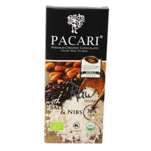 Pacari Raw Chocolate Bar with Salt & Nibs