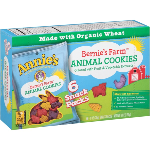 Annie's Homegrown Animal Cookies 6 ct 1 oz Packs Bernie's Farm Cookies