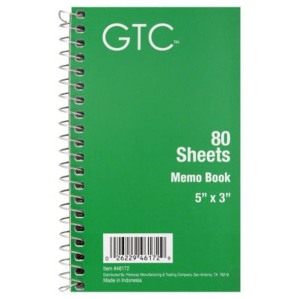 GTC 80 Sheets Memo Book, 5 in X 3 in