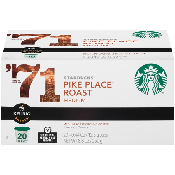 Starbucks Pike Place Roast Medium K-Cup Pods Ground Coffee