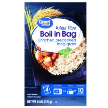 Great Value Boil in Bag White Rice, 14 oz, 4 Count