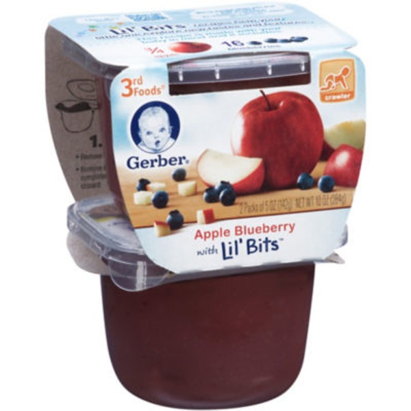Gerber 3 Rd Foods 3F Apple Blueberry with Lil' Bits Purees Fruit