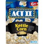 ACT II Kettle Corn Microwave Popcorn, Classic Bag, 6 Ct