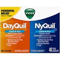 Vicks Mixed Vicks DayQuil and NyQuil Cold & Flu Relief LiquiCaps Convenience Pack 48 Count Respiratory Care