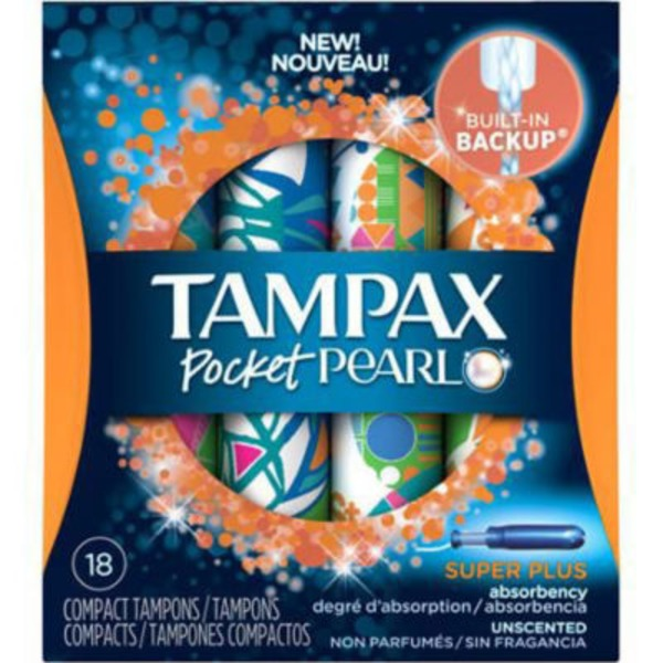 Tampax Pocket Pearl Super Plus Compact Tampons - 18 CT