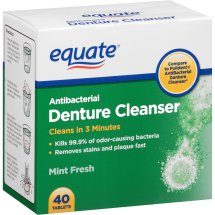 Equate Antibacterial Mint Fresh Denture Cleanser Tablets, 40 Ct
