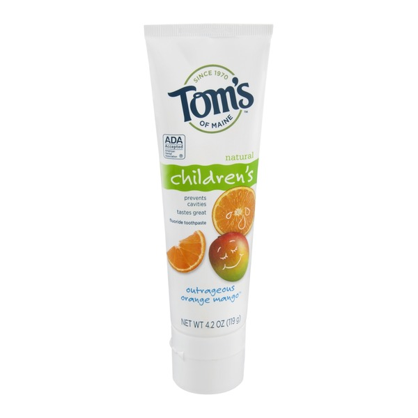 Tom's of Maine Outrageous Orange Mango Children's Fluoride Toothpaste Natural