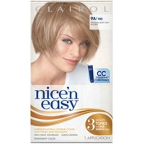 Clairol Nice 'n Easy, 9A/102 Natural Light Ash Blonde, Permanent Hair Color, 1 Kit Female Hair Color
