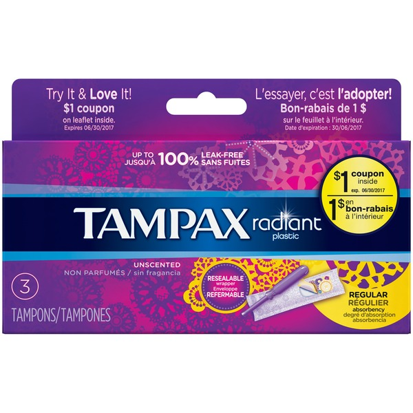 Tampax Radiant Tampax Radiant Plastic Regular Absorbency Tampons 3 Count Feminine Care