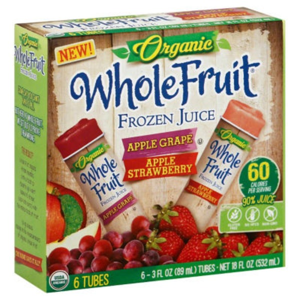 Whole Fruit Apple Grape/Apple Strawberry Organic Variety Pack Frozen Juice