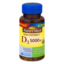 Nature Made D₃ 5000 IU High Potency Softgels Everyday Value, 100 count
