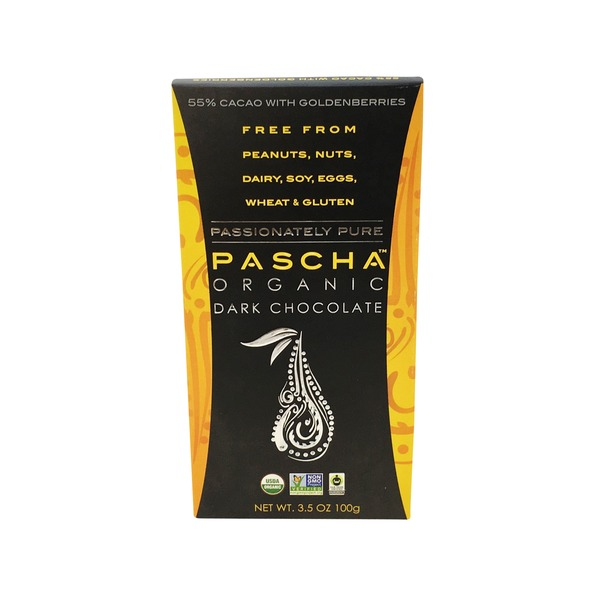 Pascha Dark Chocolate, Organic, with Goldenberries, 55% Cacao