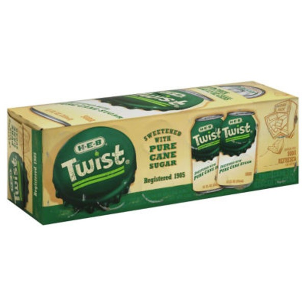 H-E-B Twist Lemon Lime Soda Pure Cane Sugar 12 Pk