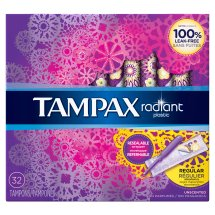 Tampax Radiant Plastic Regular Absorbency Tampons 32 Count