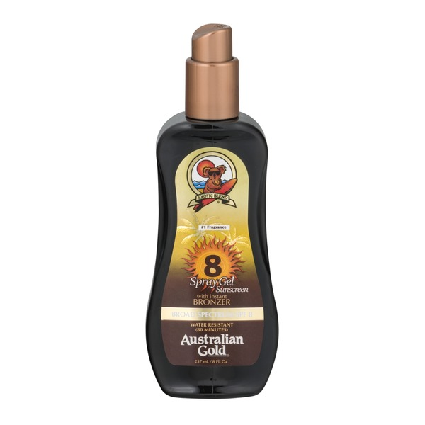 Australian Gold Sunscreen Spray Gel with Instant Bronzer SPF 8