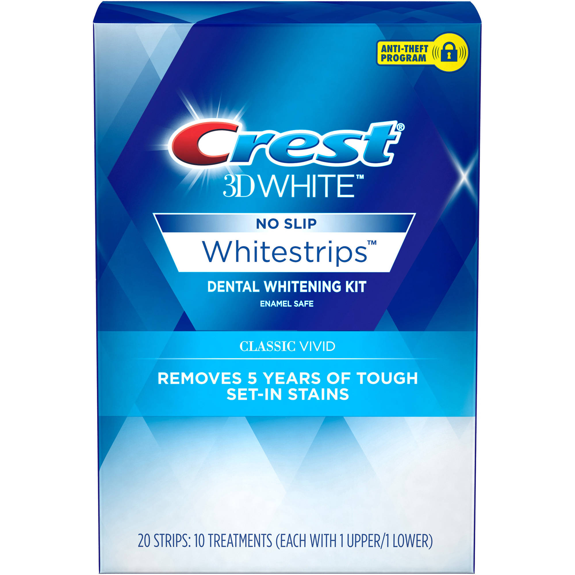 Crest 3D White Classic Vivid No Slip Whitestrips Dental Whitening Kit