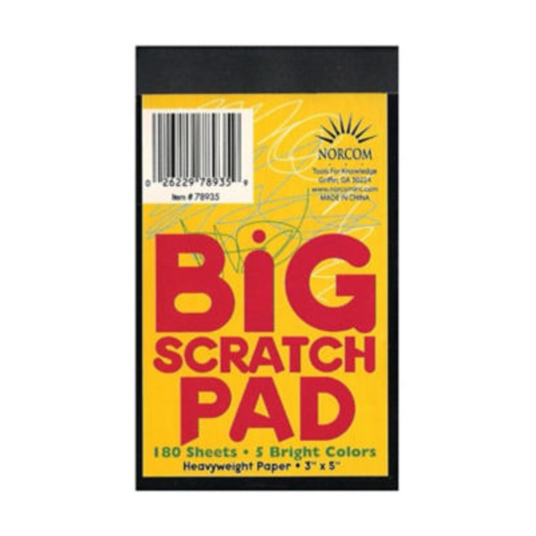 Norcom 180 Sheets Bright Colors Big Scratch Pad