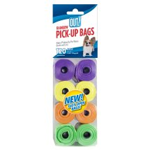 OUT! Dog Waste Pickup Bags, 8 rolls 120 bags, rainbow colors
