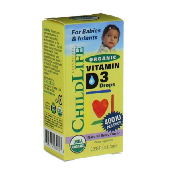 ChildLife Organic Vitamin D3 400 IU Drops For Babies & Infants Natural Berry Flavor