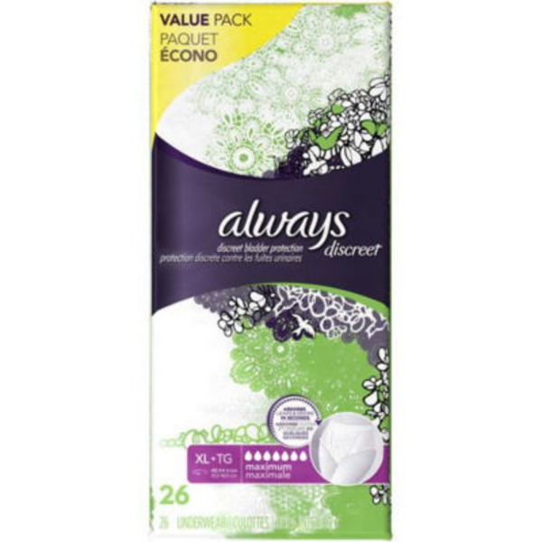 Always Discreet Always Discreet, Incontinence Underwear, Maximum Classic Cut, Extra-Large, 26 Count Feminine Care