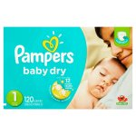 Pampers Baby Dry Diapers, Size 1, 120 Diapers
