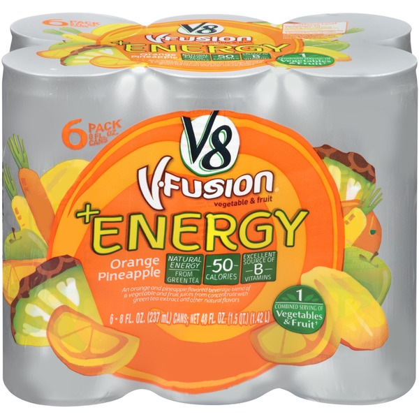 V8 V-Fusion + Energy Orange Pineapple Vegetable & Fruit Juice
