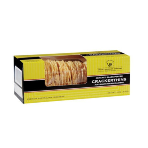 Valley Produce Crackers Black Pepper Australian Watercrackers Thins