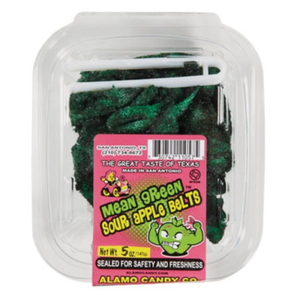 Alamo Candy Mean Green Sour Apple Belts Tub