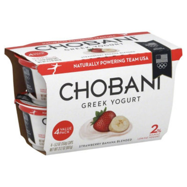 Chobani Strawberry Banana on the Bottom Low-Fat Greek Yogurt