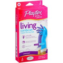 Playtex Living Reusable Gloves With Drip-Catch Cuff Medium - 2 Pair