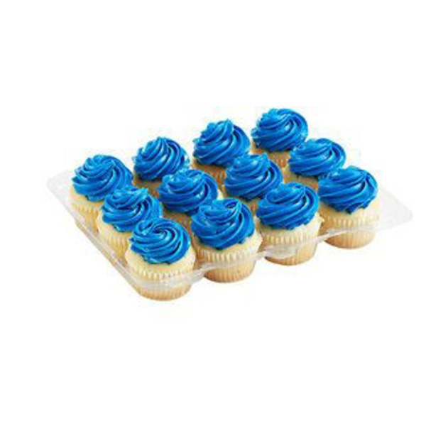 H-E-B White Cupcakes With Blue Buttercream Icing